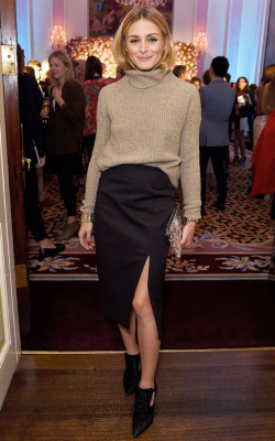 Olivia Palermo in black pencil skirt with slit and a jumper - 50 best pencil skirts