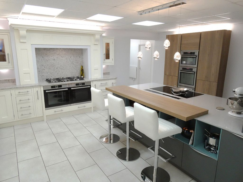kitchen displays nutone exhaust fan showroom alex lee kitchens rugby main room modern and traditional