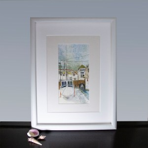 art print of a mixed media painting showing the buildings and a boat in Polperro, Cornwall