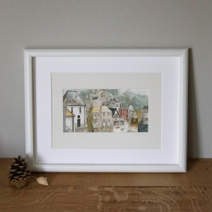 watercolour and mixed media art print of Port Isaac Cornwall