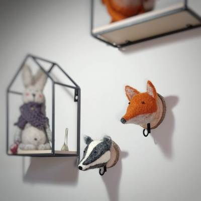needle felt wall mounted animal heads