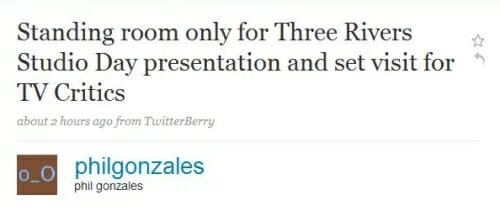 Tweet about Three Rivers from the Press Tour