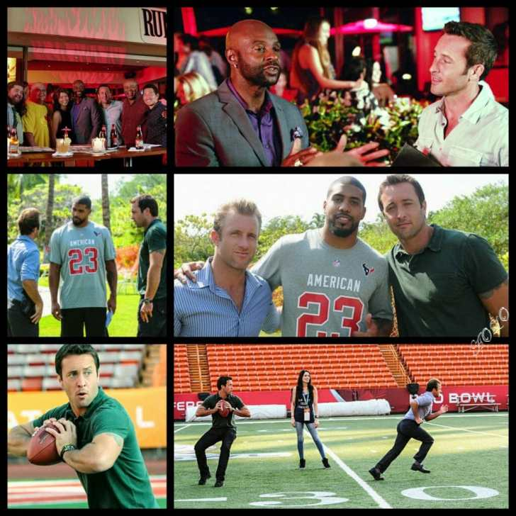 Alex O'Loughlin and football palyers