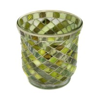 Glass Mosaic hurricane lamp in lime green