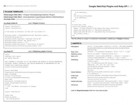 SketchUp Ruby API and plugins cheatsheet