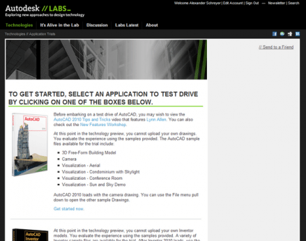 Autodesk Labs software trials