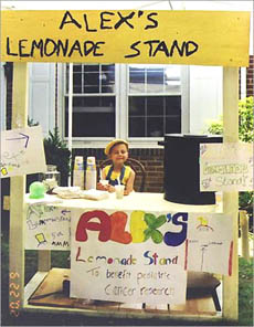 Alex Scott and her lemonade stand