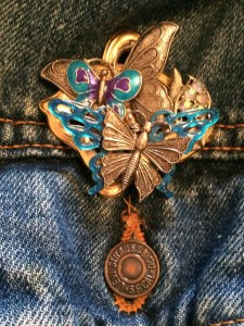 butterfly pin on jacket...