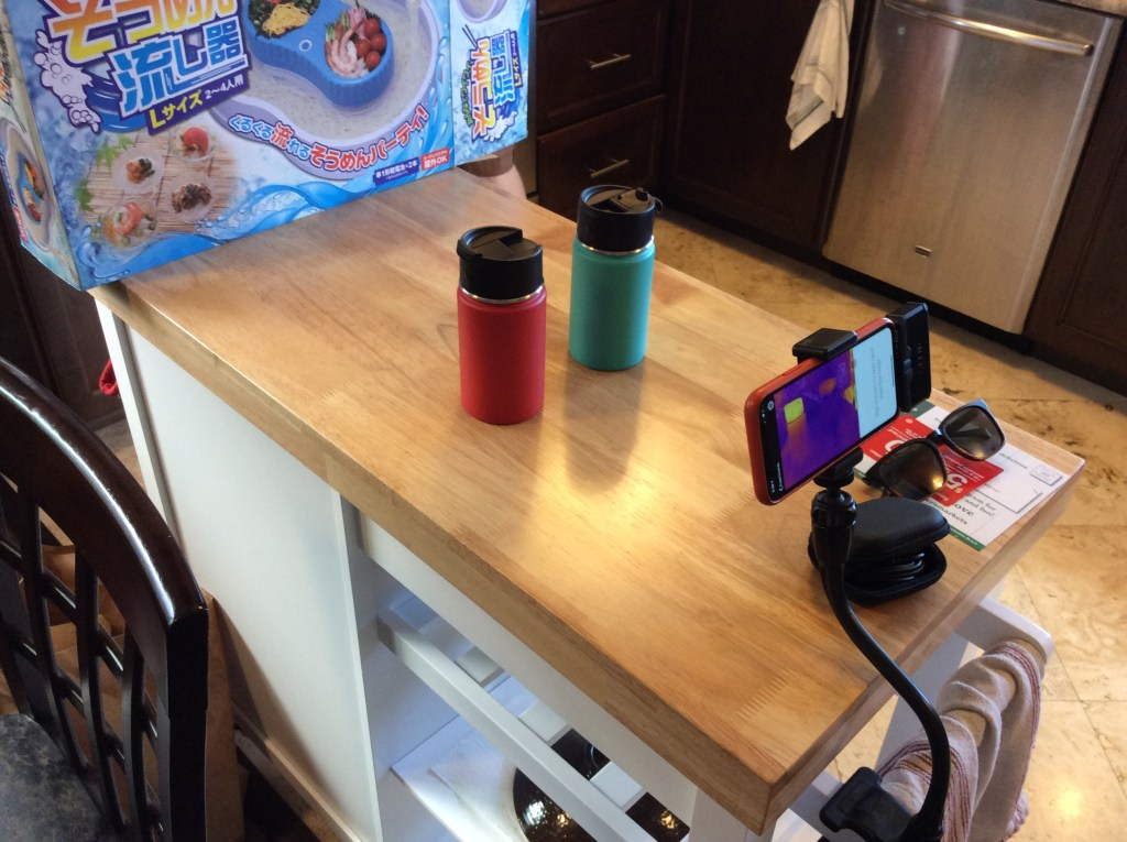 hydro flask mugs set up on kitchen island for thermal experiment