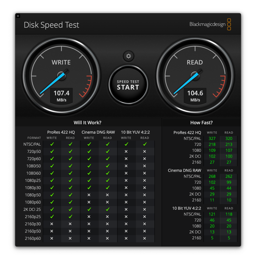 Blackmagic disk speed test 107.4MB/s write and 104.6MB/s read