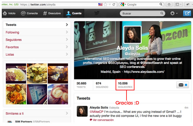 10000 Twitter Followers Aleyda - Agradecimiento
