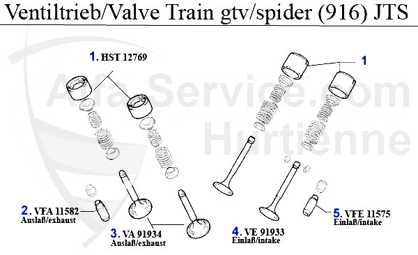 アルファマジック|車種 > 159 > ENGINE > VALVE GEAR > 2.2 JTS > VALVE
