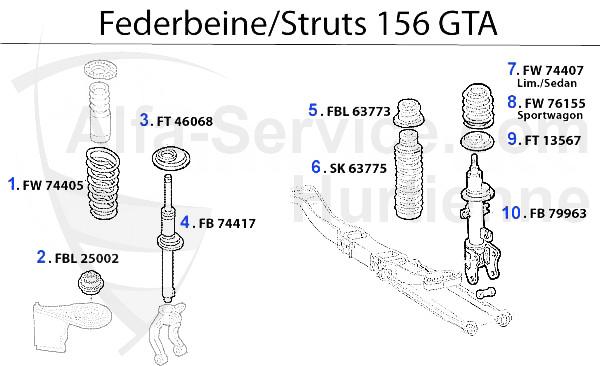 アルファマジック|車種 > 156 > SUSPENSION > STRUT 3.2 V6 24V/GTA