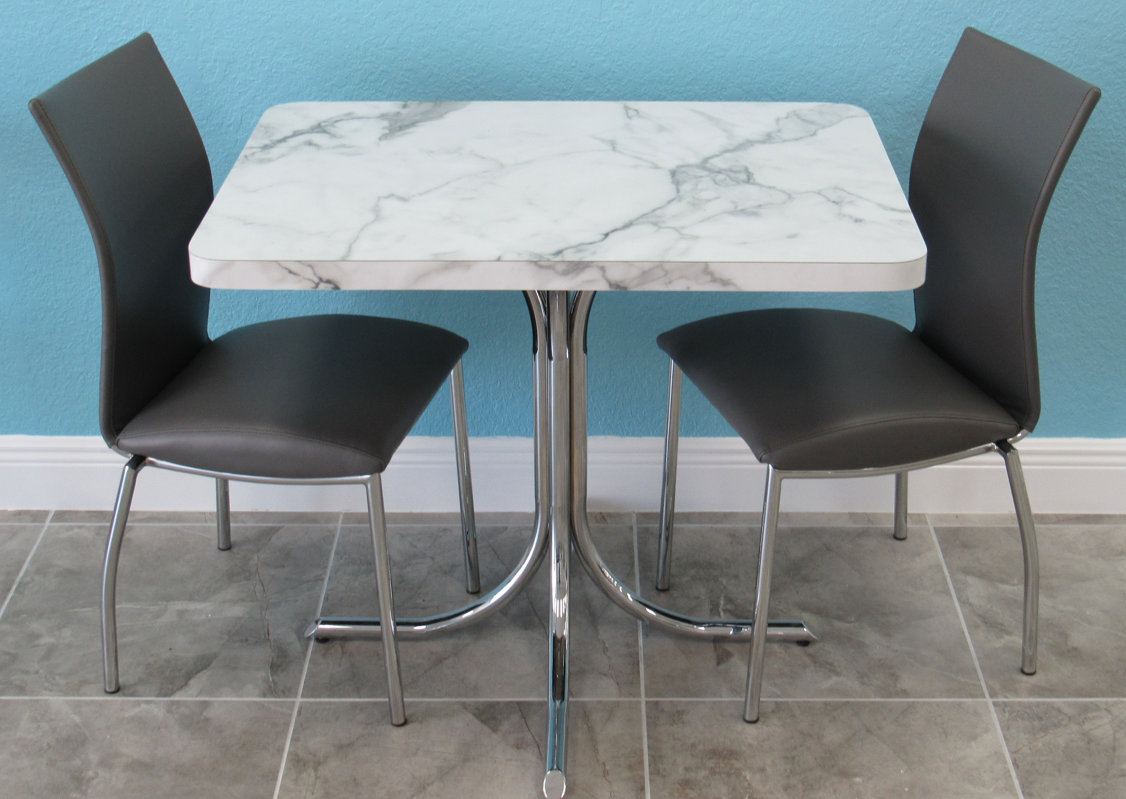 chrome kitchen chairs seating ideas formica table with small alfa dinettes condo dinette set