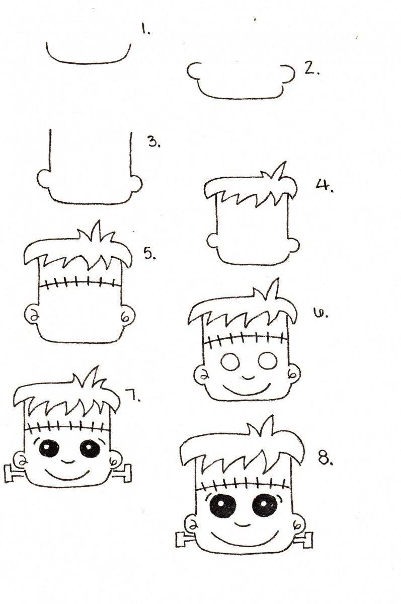 Halloween Doodle Series: Frankenstein's Head + Coloring