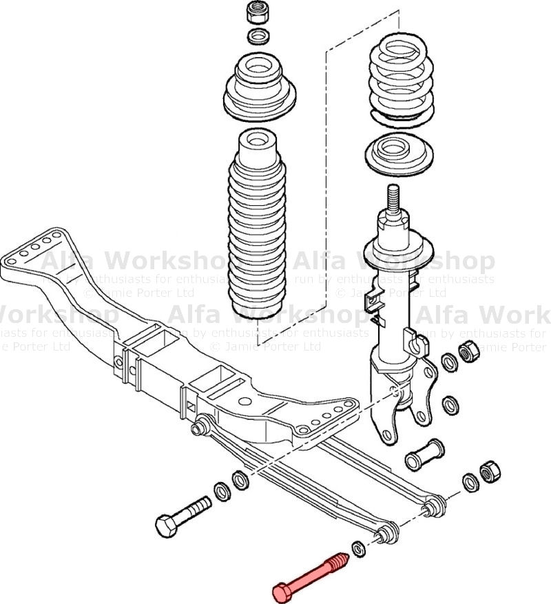 What are the threads on the bolt in rear suspension? 156