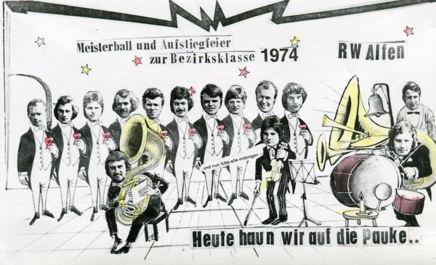 hinten von links: Helmut Hüster, Konrad Drüke, Manfred Dransfeld, Gerd Modrjcejewski,, Bernhard Drüke, Norbert Hustadt, Josef Lüke, Johannes Drüke, Karl-Heinz Harms, Bertin Breimhorst, Josef Ewers vorn von links; Spielertrainer Klaus Köhler, Heiner Drüke, Konrad Drüke