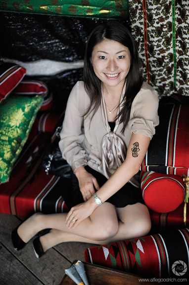 Portrait after henna tattoo: Qatar Week in Japan