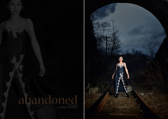 Location shoot with Natsuki Kishi at abandoned railway