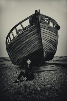 Mari on the beach, Dungeness