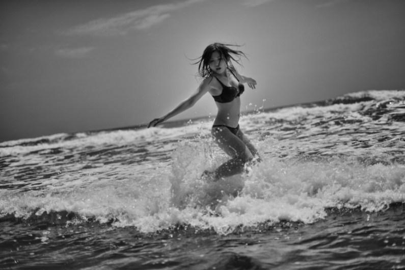 Ruri enjoying the surf, Kyushu