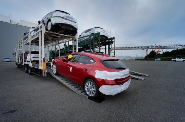 Mazda 3 being unloaded for its boat-trip to Russia