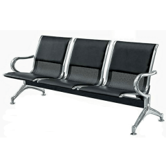 Steel Airport Chair Oversized Recliner Leather Padded Reception Office 3 Seater