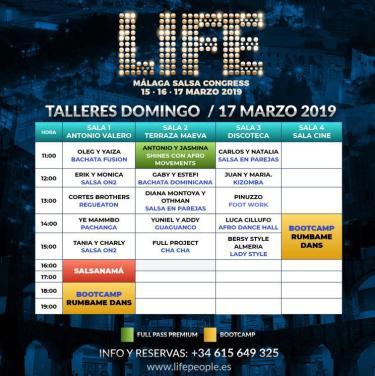 Programa Domingo Life Salsa Congress Málaga 2019