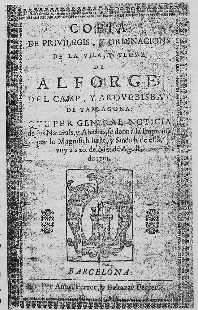Libre de privilegis i ordinacions de la vila d alforja