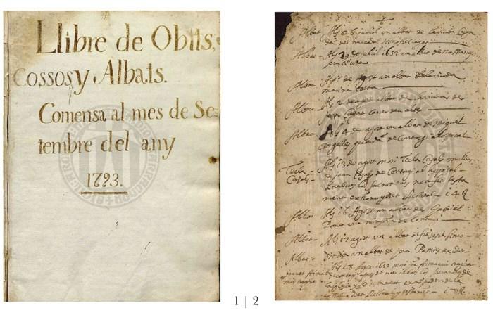 Libres Sagramentals de la Parròquia d'Alforja. Arxiu Històric Arxidiocesà de Tarragona (A.H.A.T) 1.- Pàgina d'inici del llibre d'Òbits 1793-1824   2.- Pàgina amb partides dels d'òbits del 1651-1652.