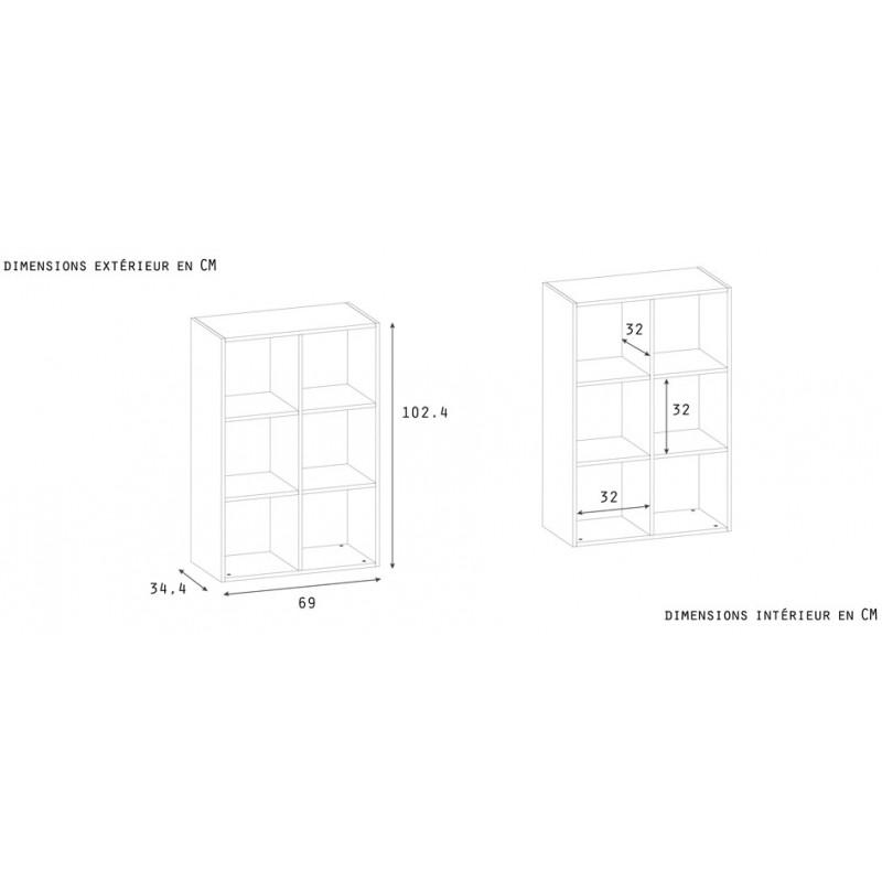 bookcase 6 compartments 100x68x35 white
