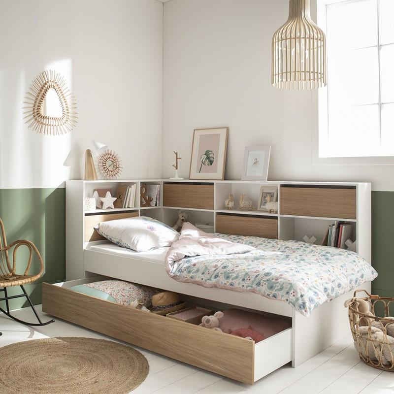 tiroir de rangement pour lit magnus 90x190 blanc bois