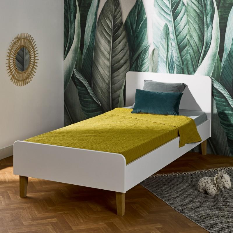 bed with beech wood legs 90x200 aija white wood