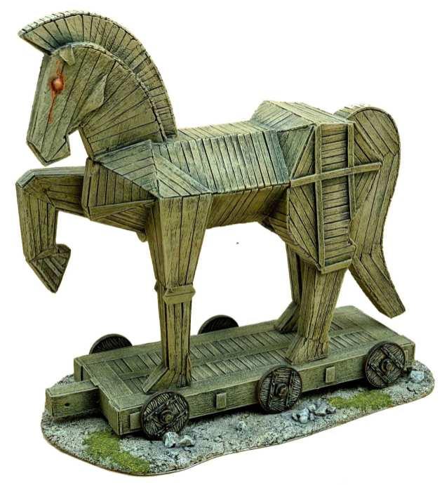 Trojan Horse in carta e legno di balsa