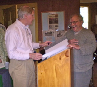 After his talk, Dr. Richard W. Judd, left, talks with local historian Bruce Tucker of Alfred.