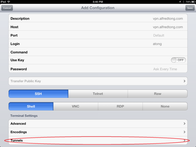 ipad ssh tunnel