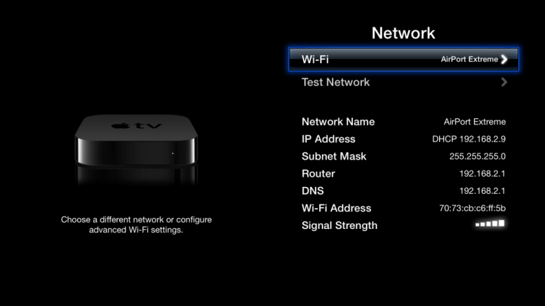 Apple TV network settings
