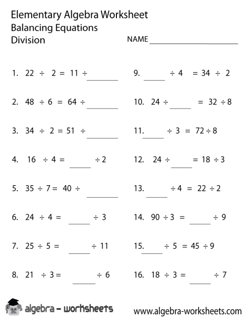 small resolution of Print the Free Division Elementary Algebra Worksheet - Printable Version