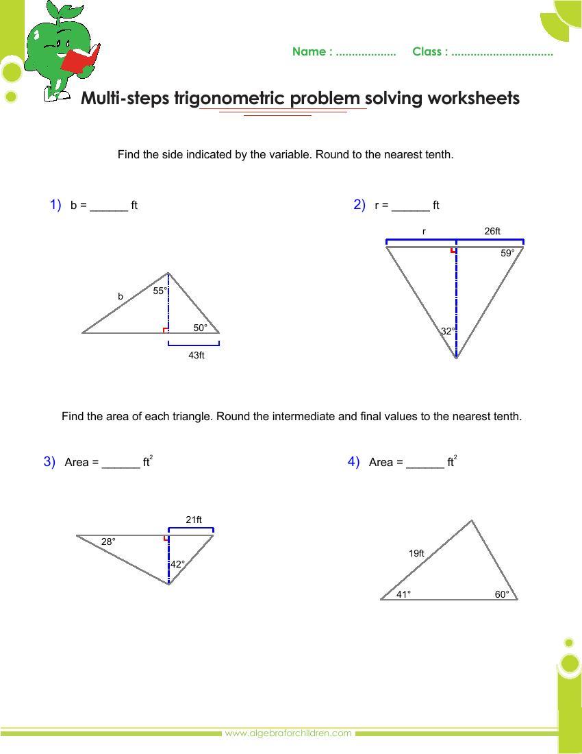 hight resolution of Basics trigonometry problems and answers pdf for grade 10