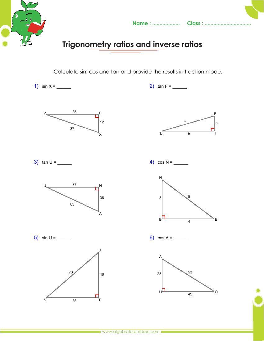 Trigonometry Worksheet Answers Free Worksheets Library