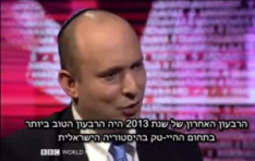 Israeli Economy Minister Naftali Bennett on BBC's Hard Talk. Photo: Screenshot / BBC.