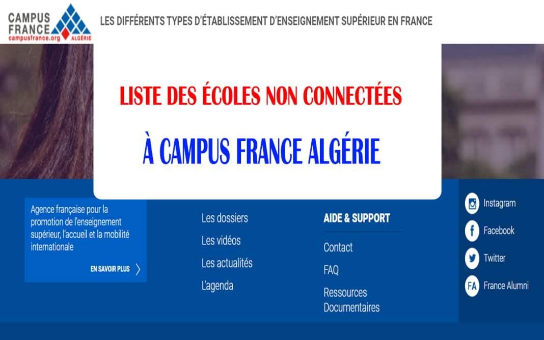 écoles non connectées à Campus France Algérie