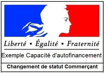 Exemple Capacité d'autofinancement changement de statut commerçant