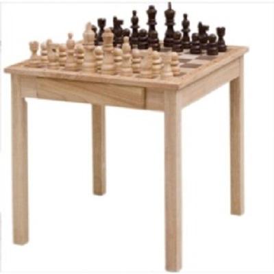 TABLE JEUX D'ECHEC EN BOIS AVEC TIRROIR ET PION EN BOIS 45X45CM ADE-147