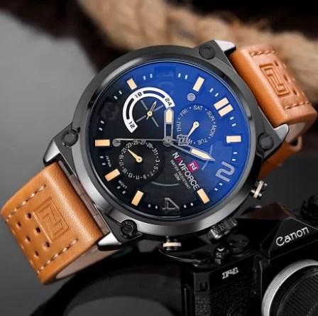 Naviforce Montre à Quartz pour Homme NF9068M Bracelet Marron