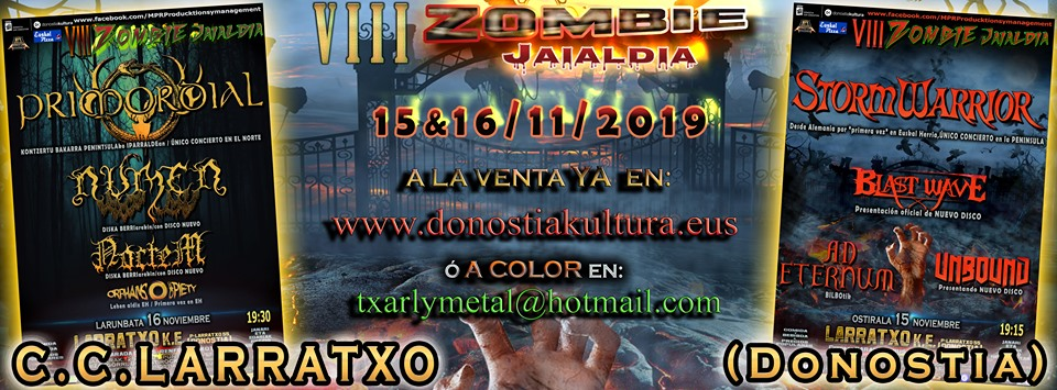 VIII ZOMBIE Jaialdia 15 y 16 noviembre presenta los HORARIOS