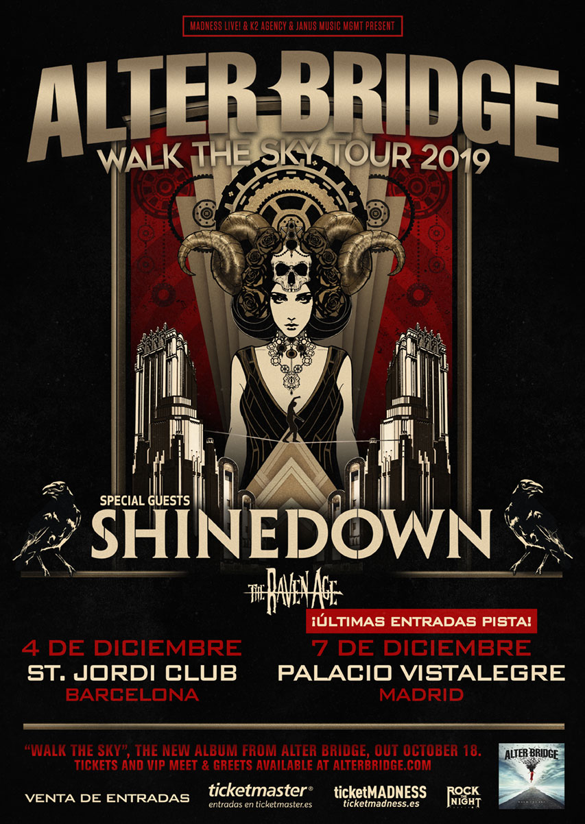 ALTER BRIDGE – SHINEDOWN – THE RAVEN AGE EL 4 DE DICIEMBRE EN BARCELONA Y EL 7 EN MADRID