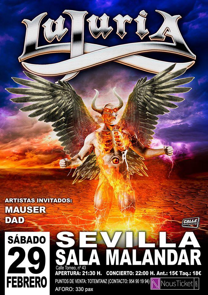 Lujuria + Mauser + DAD el 29 de febrero Sevilla (sala Malandar)
