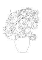 Algorigraph Van Goghs Sonnenblumen als one line Zeichnung