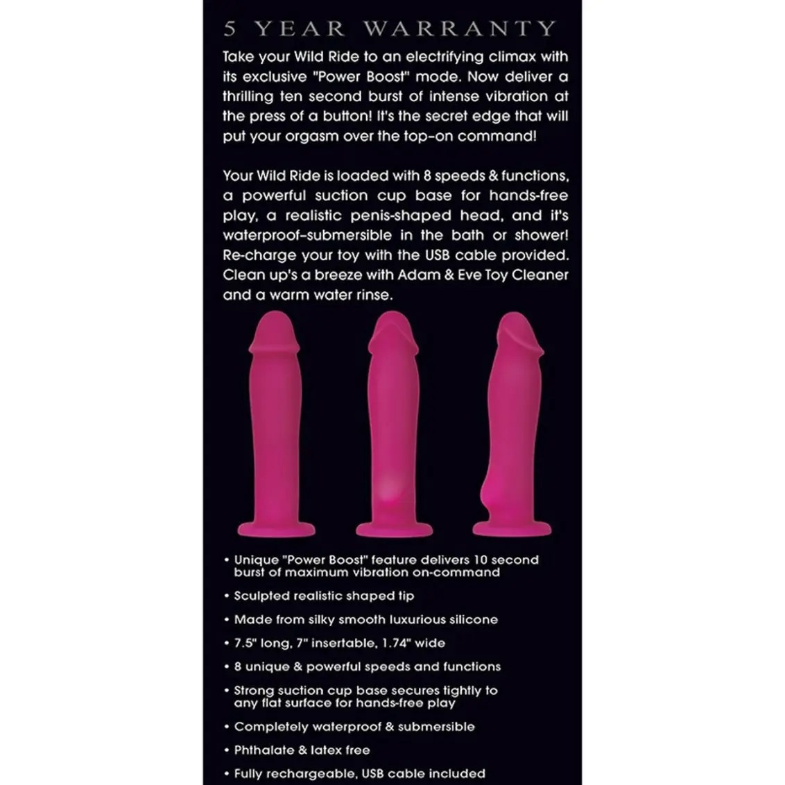 Wild Ride with Power Boost Rechargeable Silicone Vibrator